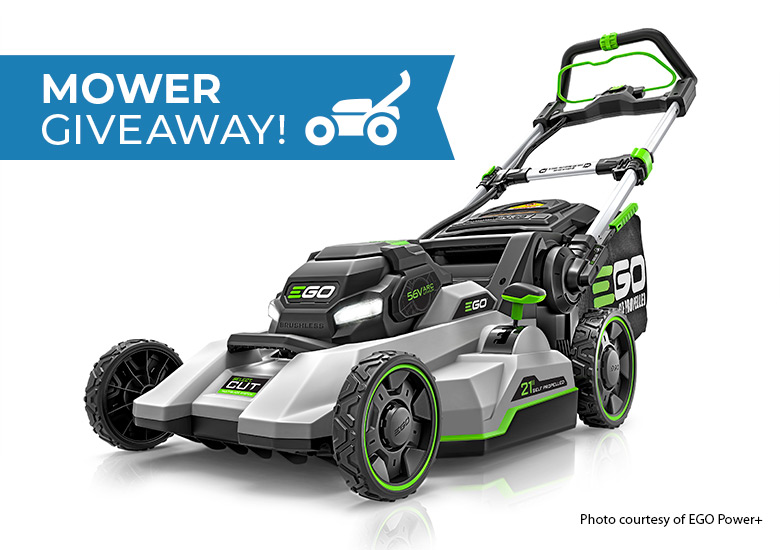 EGO+ Battery Powered Mower Giveaway: EGO Power+ Select Cut battery mowers are self-propelled and even fold up to store.