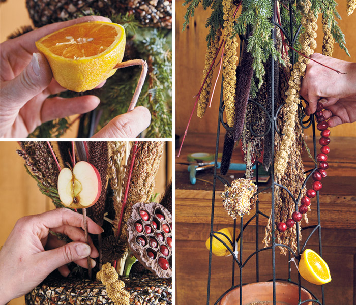 Add fruit to the bird-feeding obelisk: Birds will love the addition of  fruit in your display like apples, oranges and cranberries.