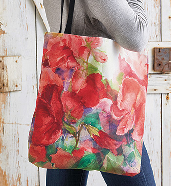 Sweet peas watercolor print tote bag garden gate magazine product