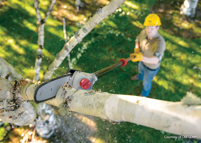 Pole saw from OREGON brand: Cut high branches with ease using a power pole saw.