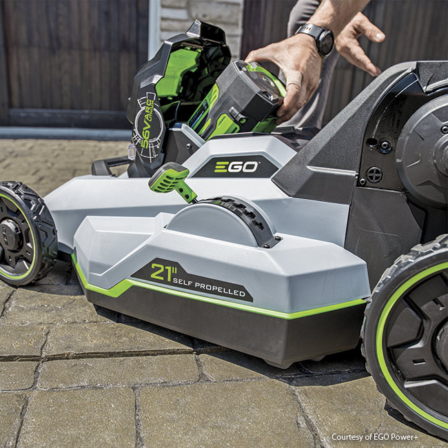battery-powered-lawn-mower-in-action: EGO Power+ Select Cut battery mowers are self-propelled and even fold up for storage.
