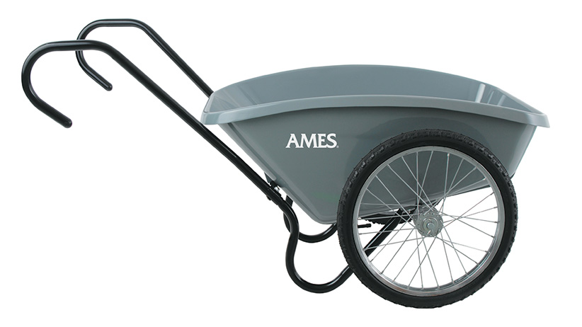 Two wheel cart:You can find two-wheeled dump carts with sloped or straight sides, with two handles or a single closed-loop handle.