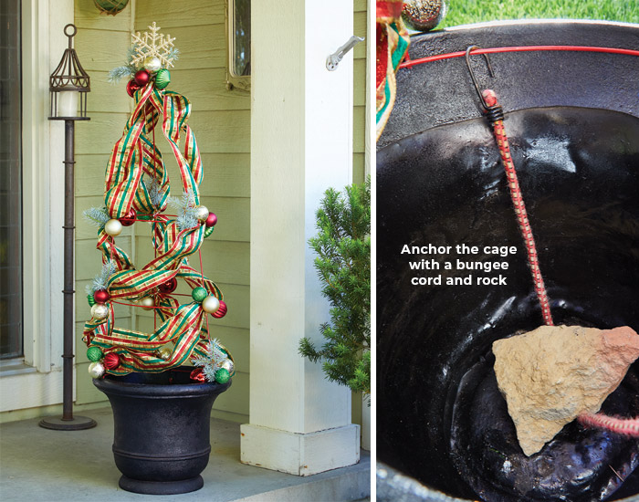 Repurposing a tomato cage into Holiday decor: With a little holiday ribbon, shatterproof ornaments and a garden container, this tomato cage can tranform into a decorative tree.