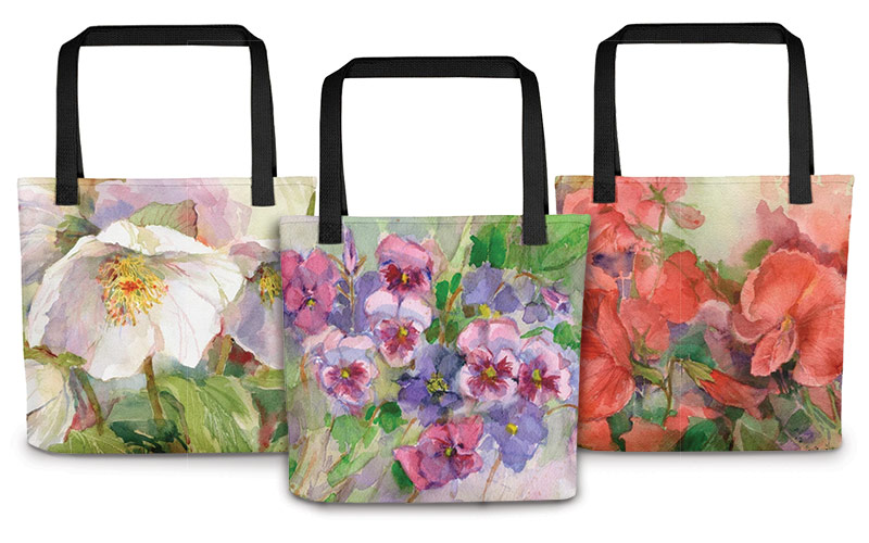 High-Quality Tote bags featuring Watercolor paintings from the pages of Garden Gate Magazine