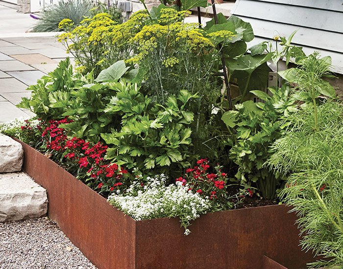 Raised Garden bed made out of CorTen steel: You may need to hire a fabricator to make your weathered steel beds.