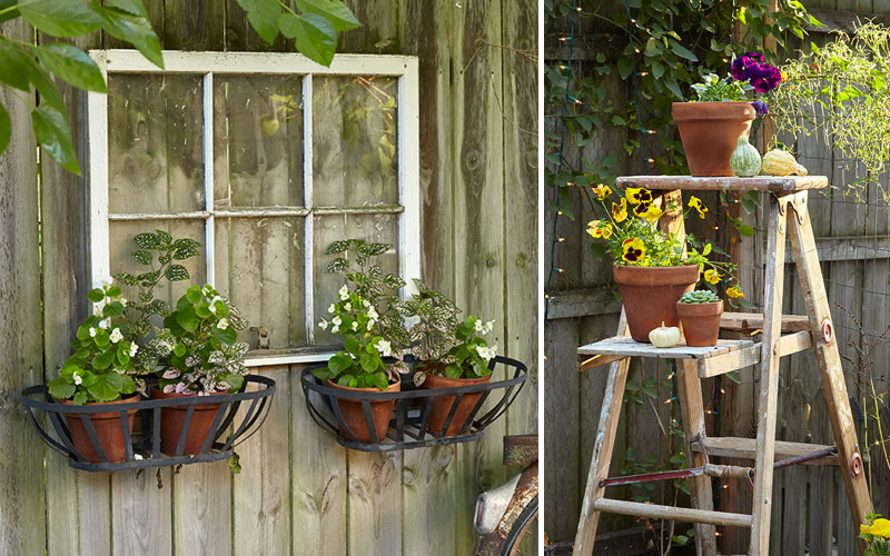 Upcycled-garden-decor-window-ladder: You can upcycle almost any old household item into a useful and unique garden ornament or structure.