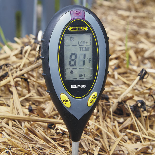taking temperature of straw bale garden: Use a soil thermometer to check the interior temperature of the straw bale.