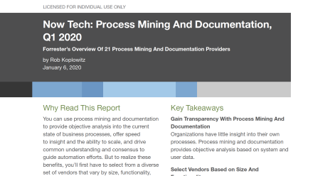 Report: Forrester Now Tech 2020 - Process Mining and Documentation - preview image