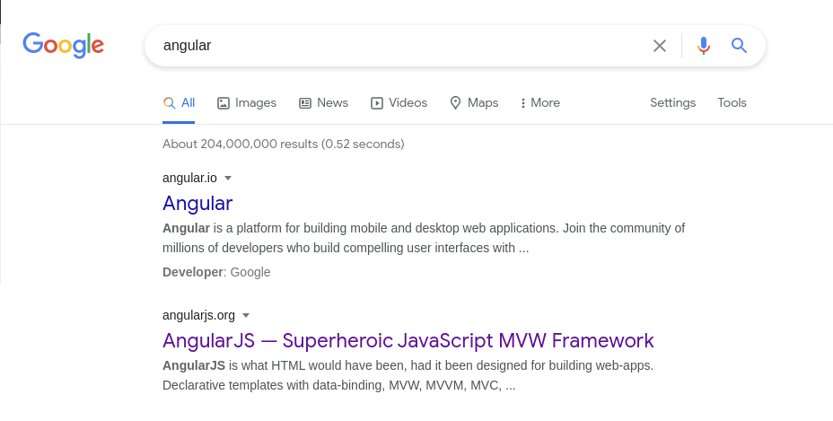 Angular Google Results