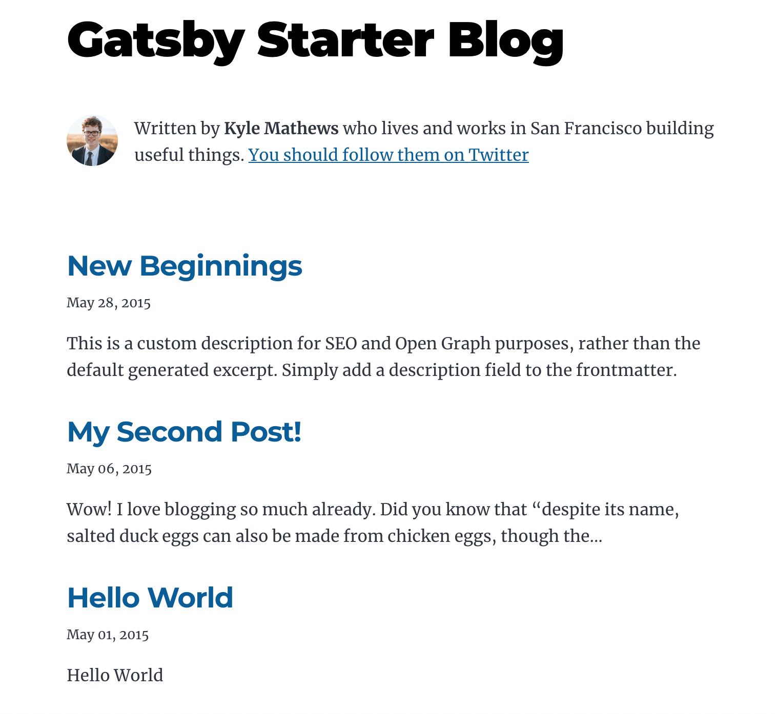 Gatsby Starter Blog Template Homepage