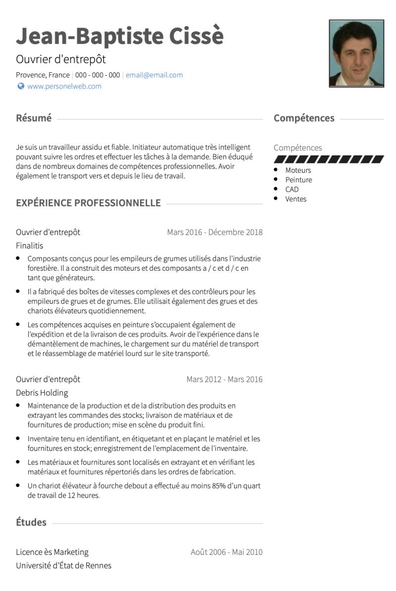 Exemples Ouvrier Du Batiment De Cv Et Des échantillons De Cv