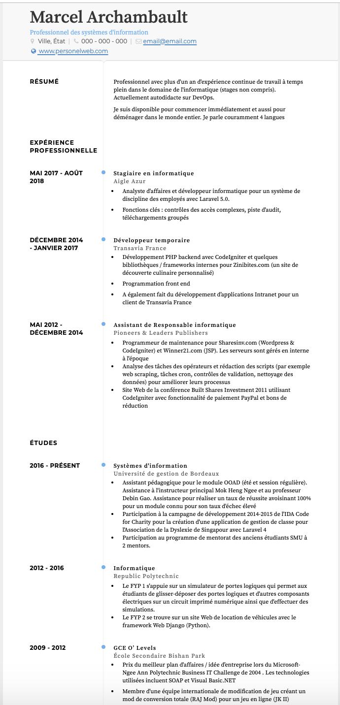 Exemples Stagiaire De Cv Et Des échantillons De Cv En Direct