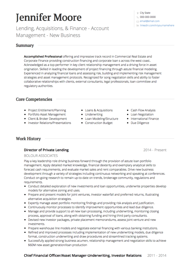 Real Estate CV Examples & Templates | VisualCV