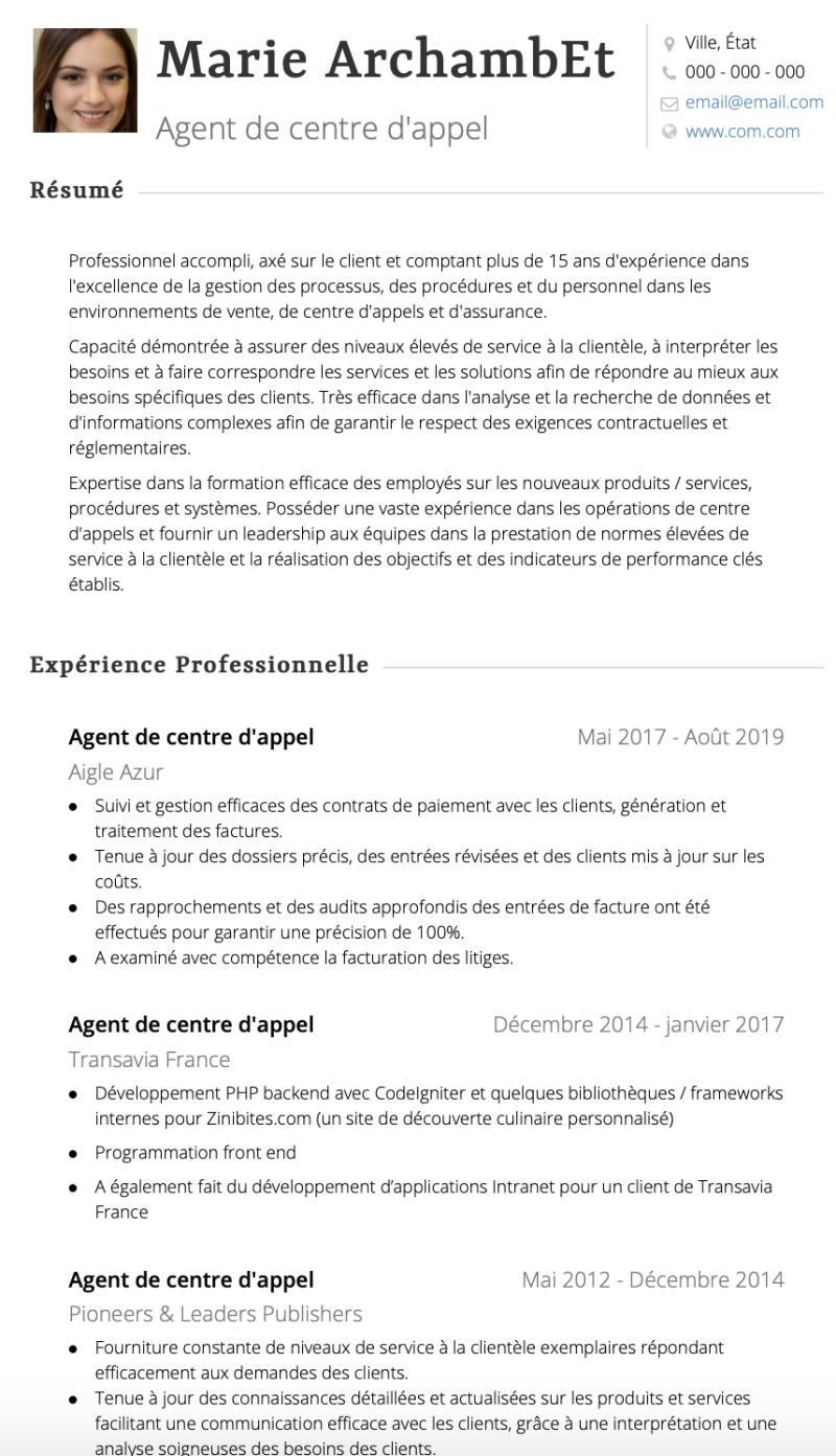 Exemples Centre D Appel De Cv Et Des échantillons De Cv En