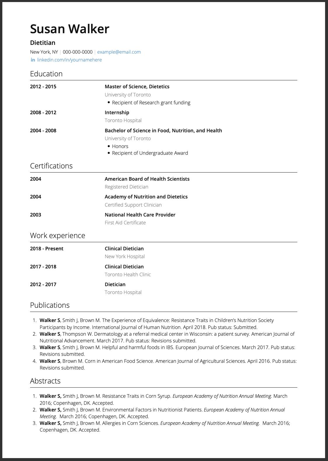 Corporate Template CV Sample