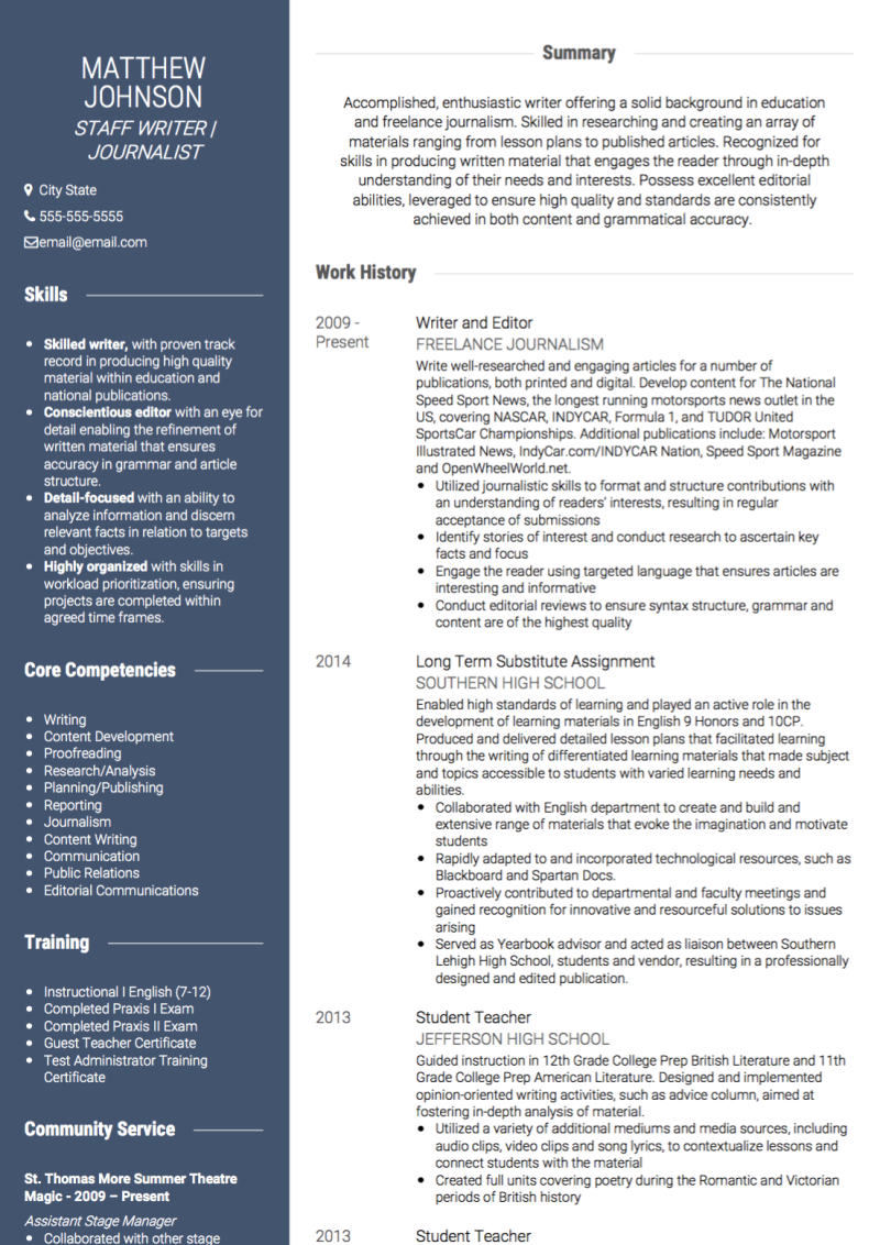 Journalist CV Examples & Templates | VisualCV