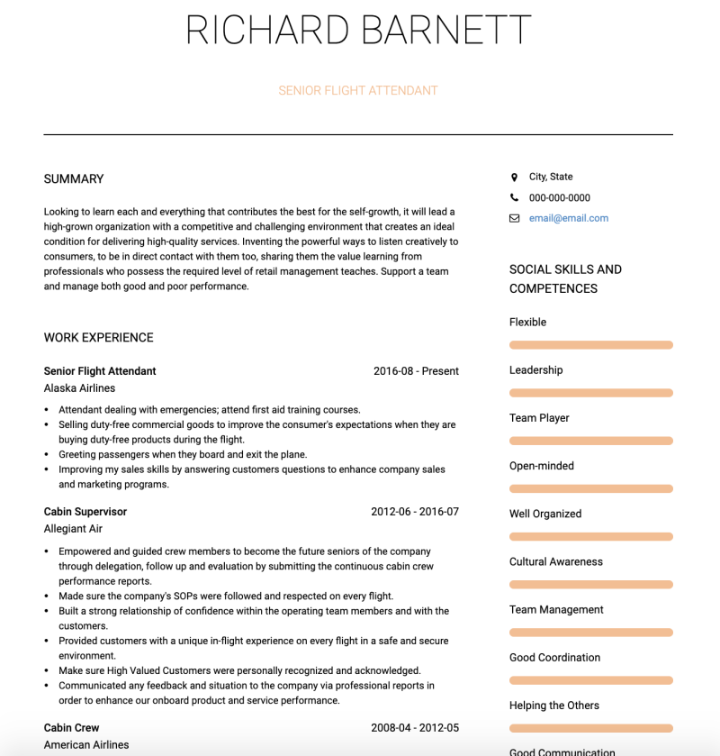 Flight Attendant CV Examples & Templates | VisualCV