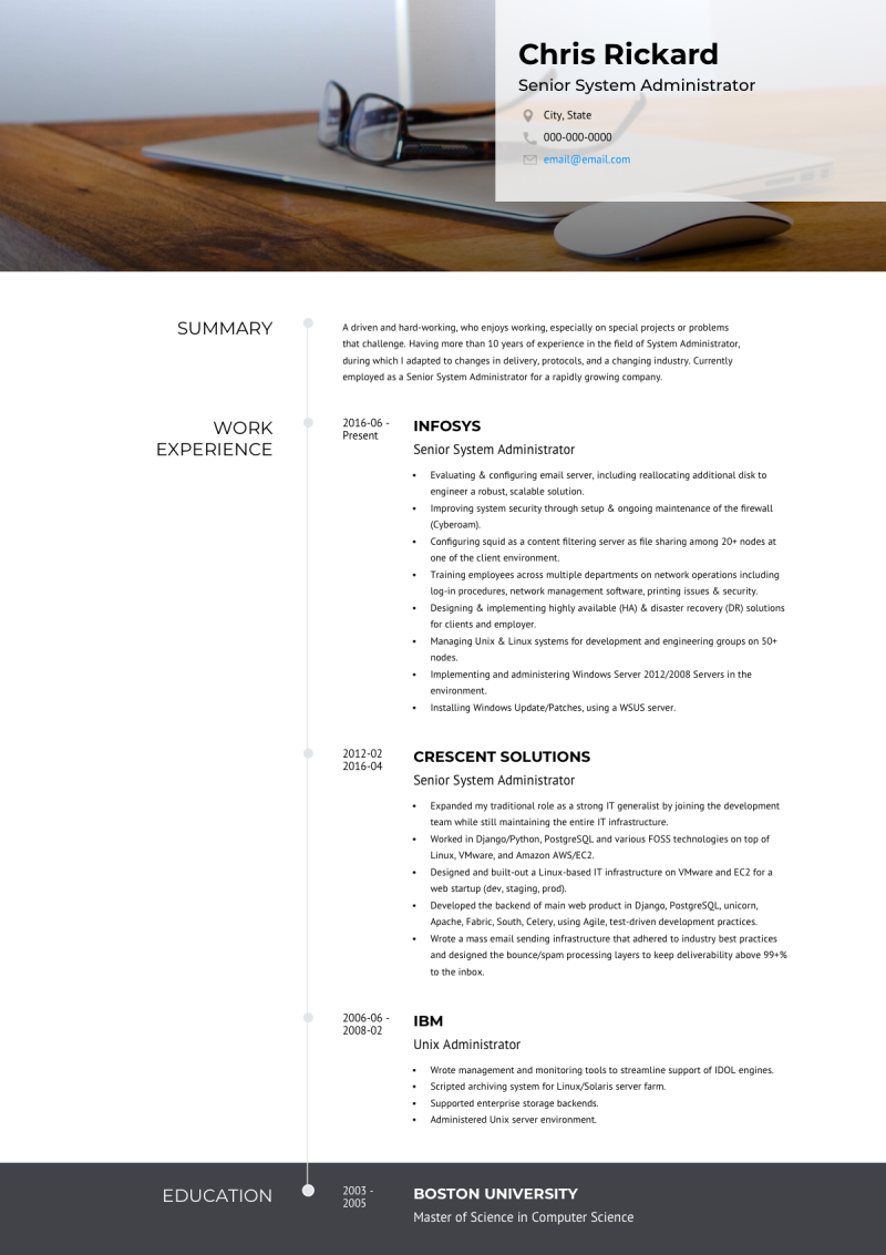 Customizable online resume template