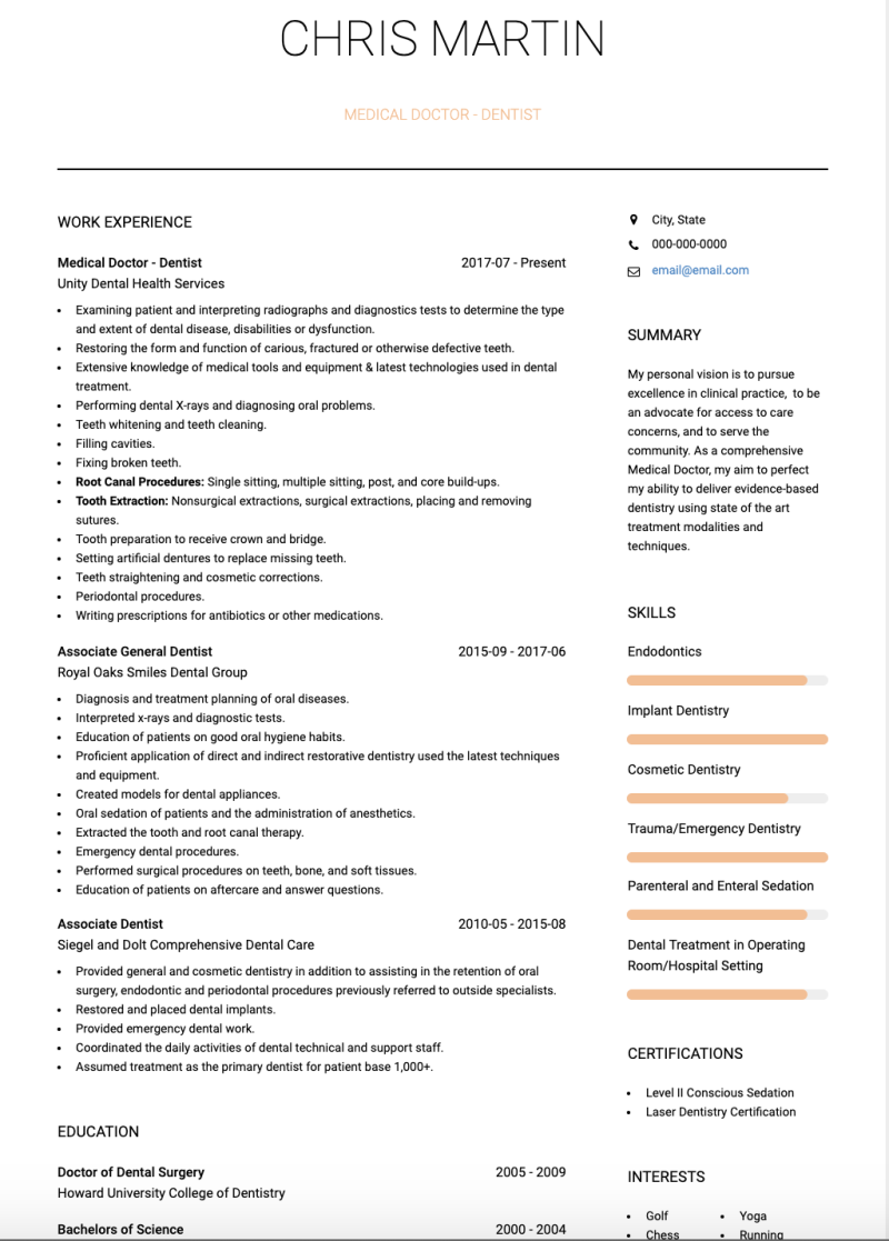 Medical Doctor CV Examples & Templates | VisualCV