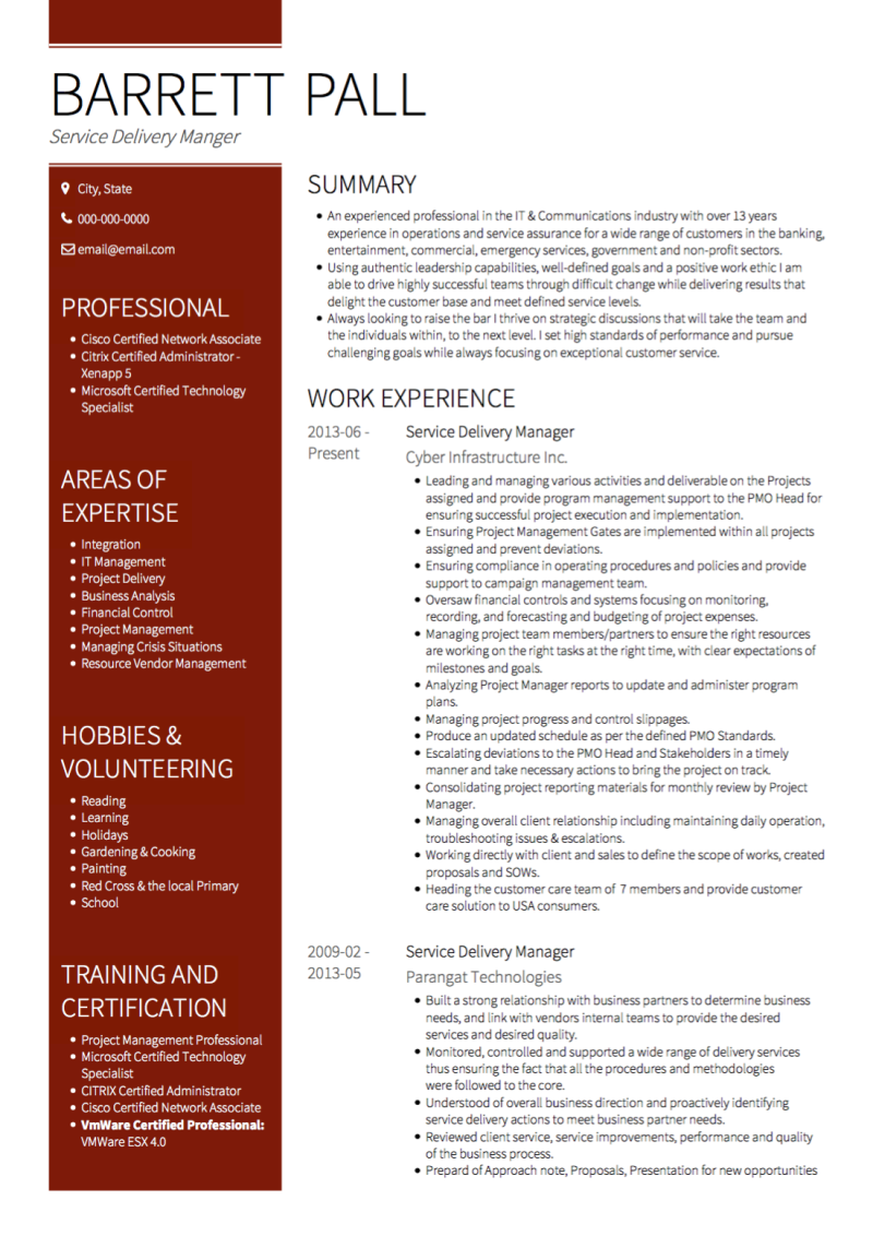 Combination Resume Template and Example - Gallant by VisualCV