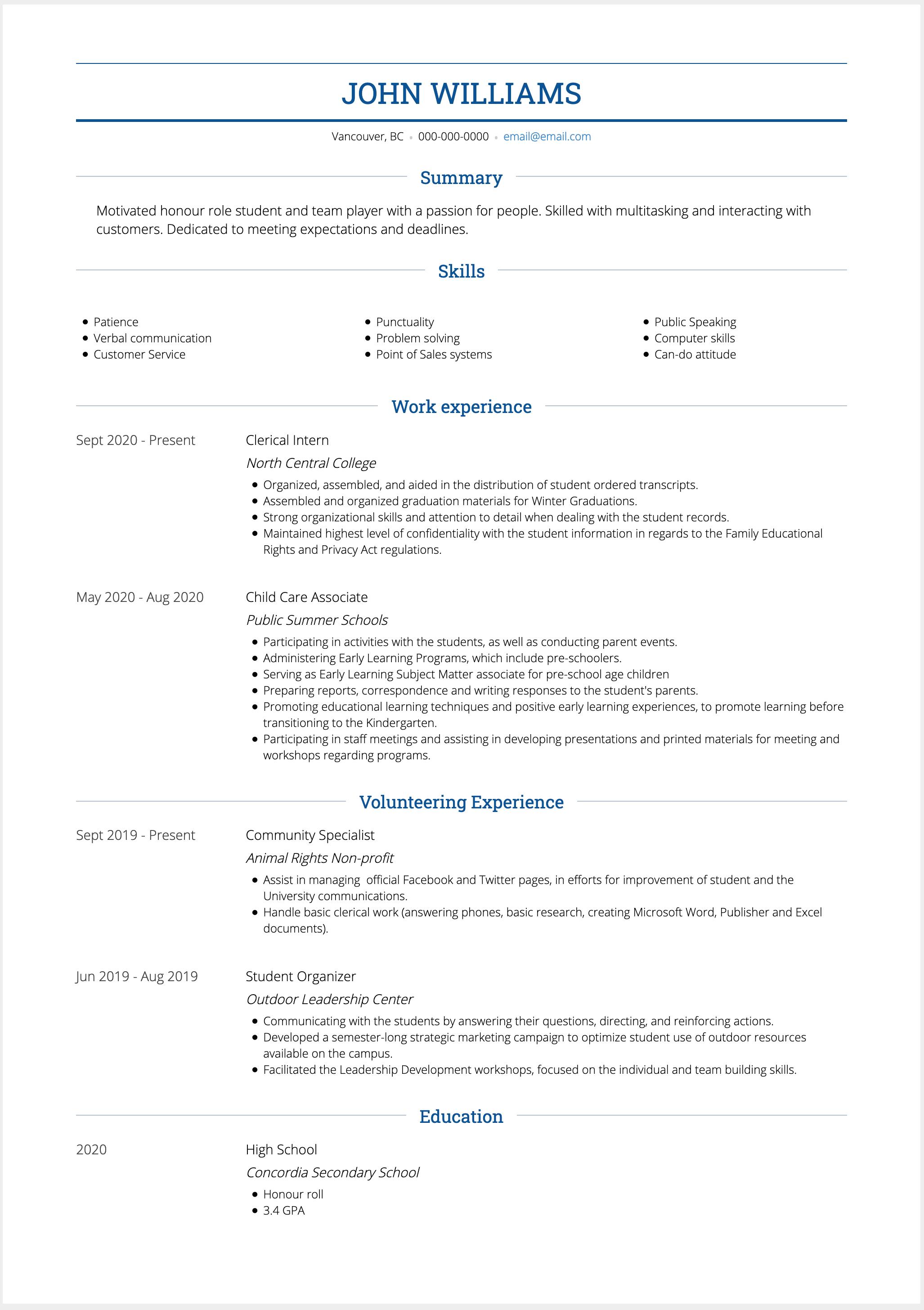 High School Resume Example Image