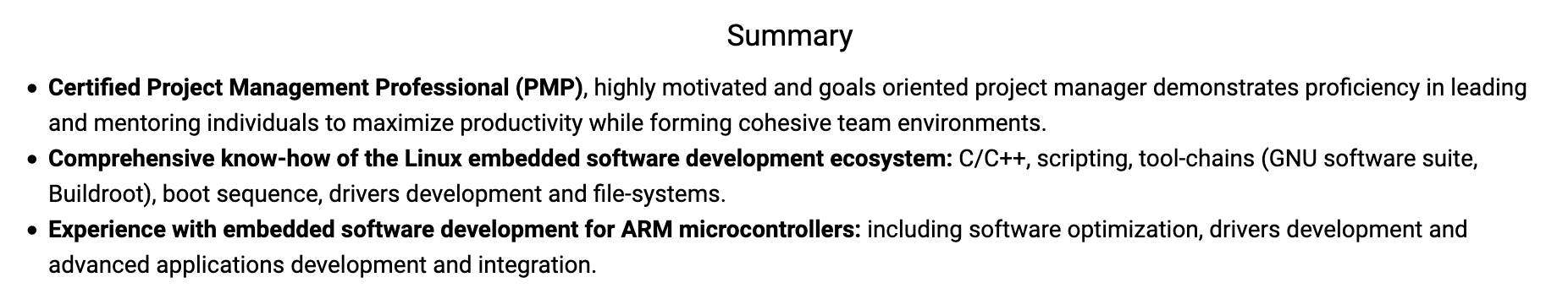 Software Project Manager Summary Statement
