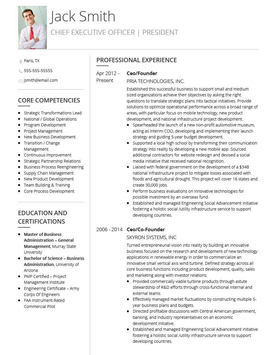 executive cv template for 2020
