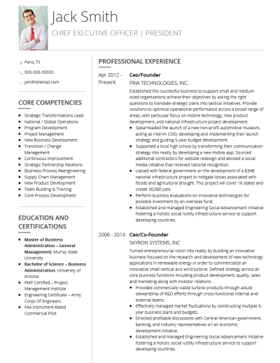 Executive CV Template and Example - Corporate by VisualCV