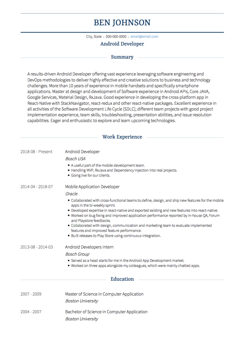 Traditional Resume Template and Example - Monte by VisualCV