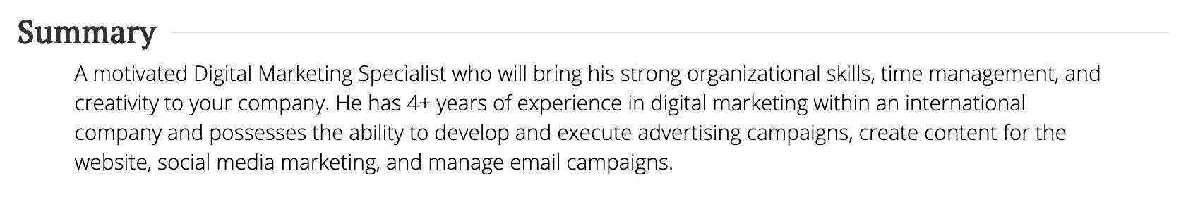 Digital Marketing Specialist Summary Statement