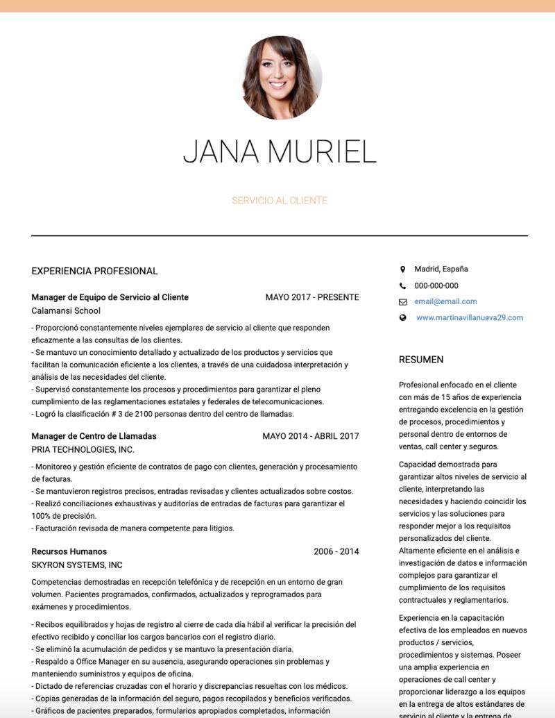 Ejemplos Cv Servicio Al Cliente Y Muestras Cv En Directo