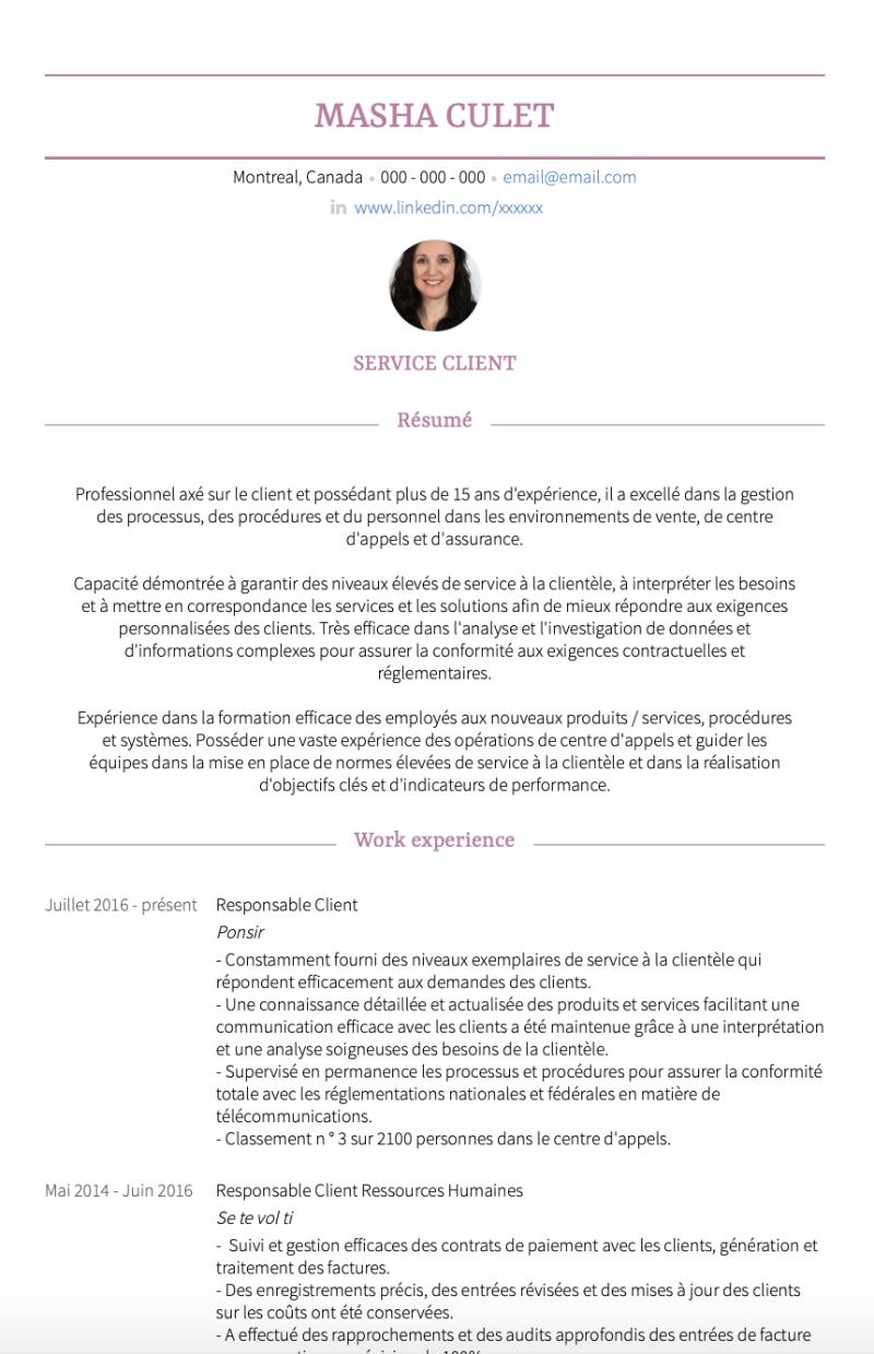 Exemples Service Clients De Cv Et Des échantillons De Cv En