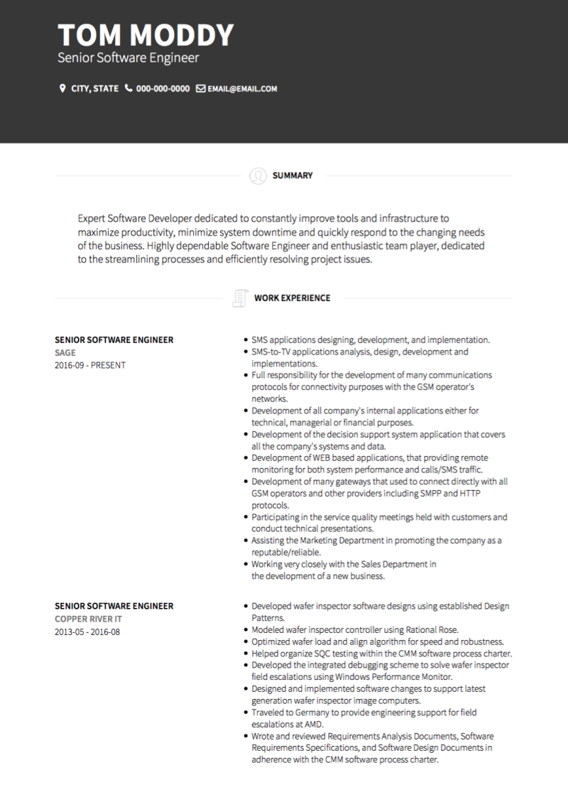 Contemporary Resume Template and Example - Brooklyn by VisualCV