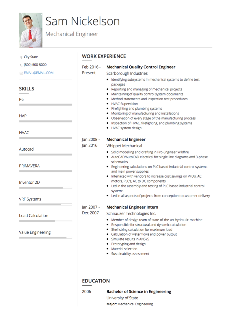 Mechanical Engineer Resume Example.Mechanical Engineer Cv Examples Templates Visualcv