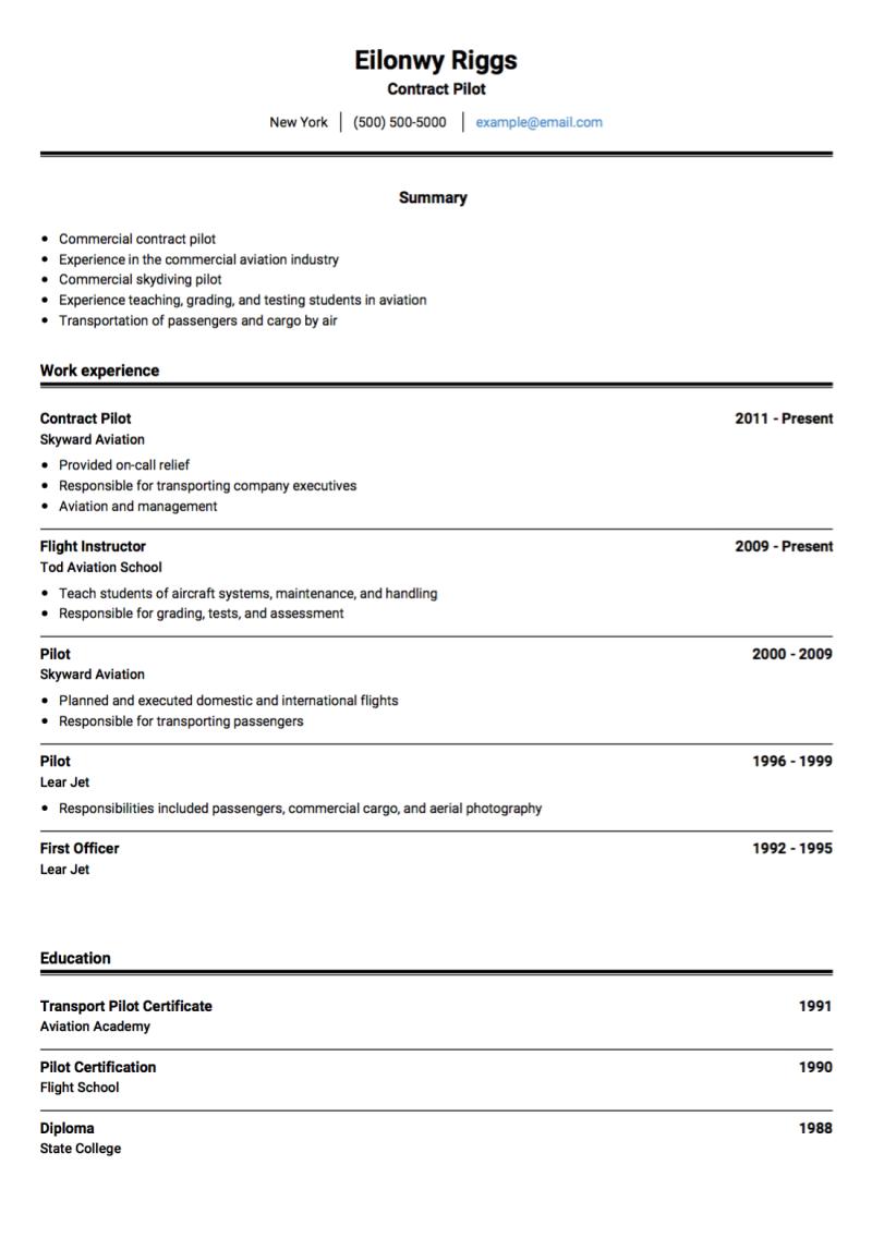 Pilot CV Examples & Templates | VisualCV