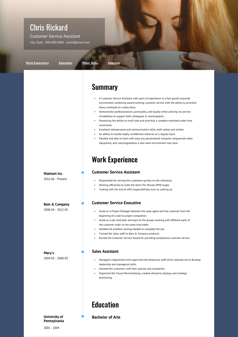 Online Resume Template and Example - About by VisualCV