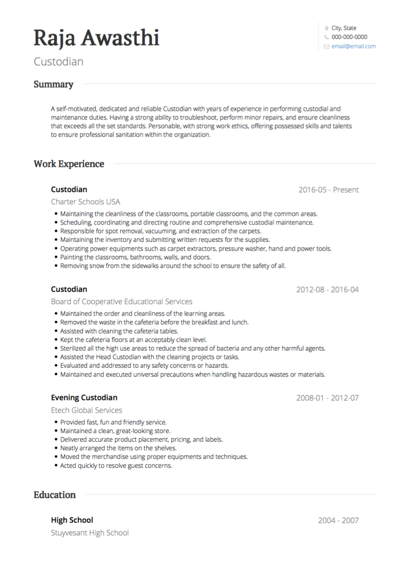 Classic Resume Template and Example - Standard by VisualCV