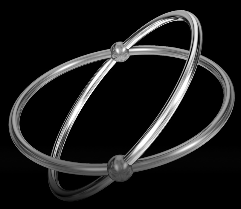 Silver interconnected rings