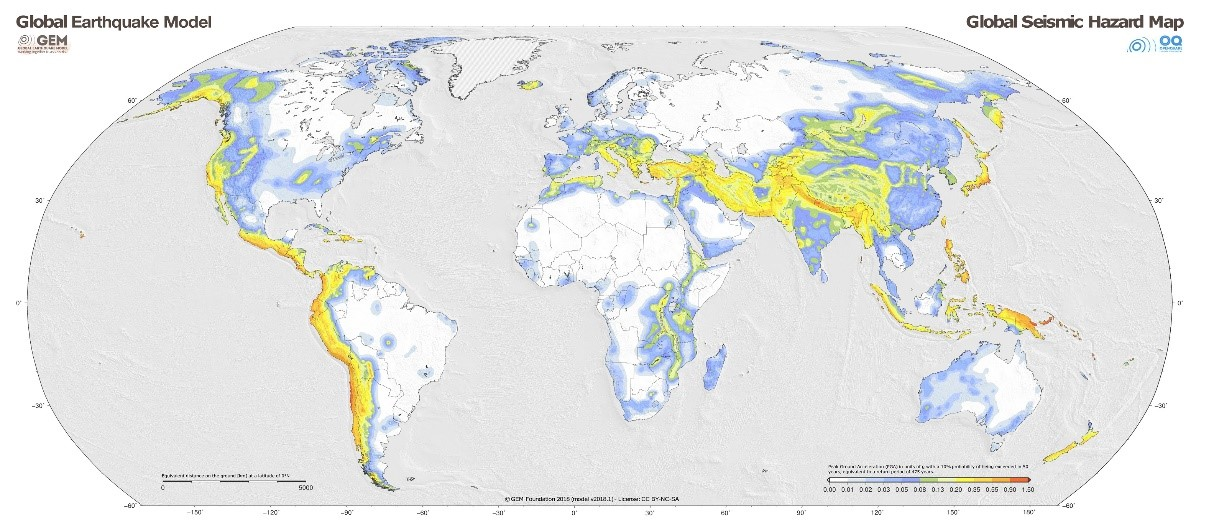 Map showing the earthquake risk worldwide.