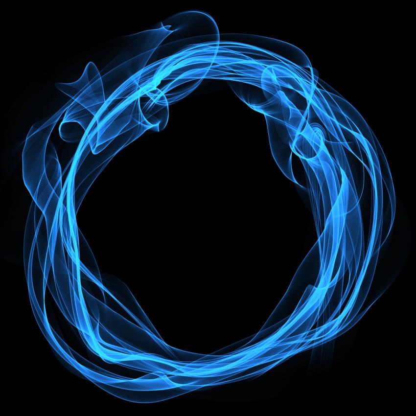 Blue ring on black background