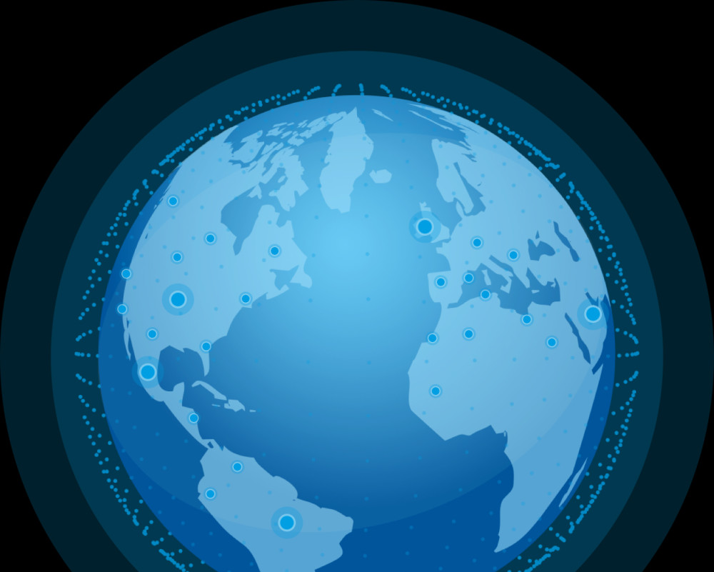 Graphic of a blue globe