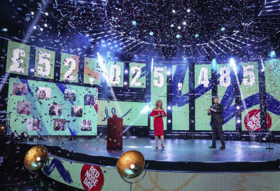 Picture shows final fundraising total of £52,025,485 with Amanda Holden and Jason Manford in the foreground