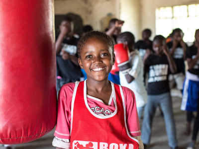 A girl at a boxing class