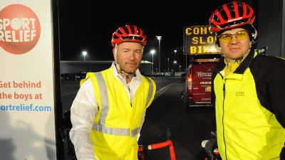 Adrian Chiles and Alan Shearer during their cycle