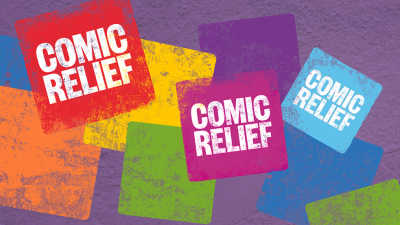 Comic Relief logo in an array of colours