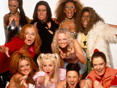 The Spice Girls with their Red Nose Day counterparts