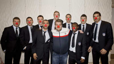 Smithy with the England football team