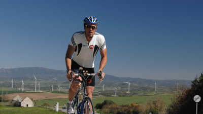 James Cracknell cycling during his Sport Relief challenge