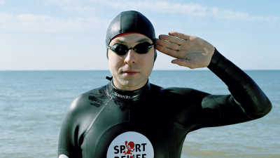 David Walliams in his Sport Relief wetsuit