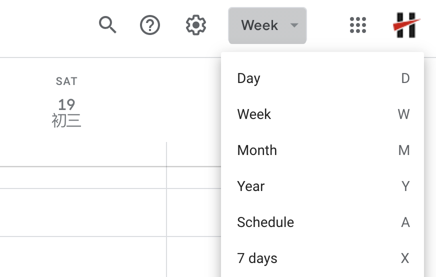 Google Calendar views